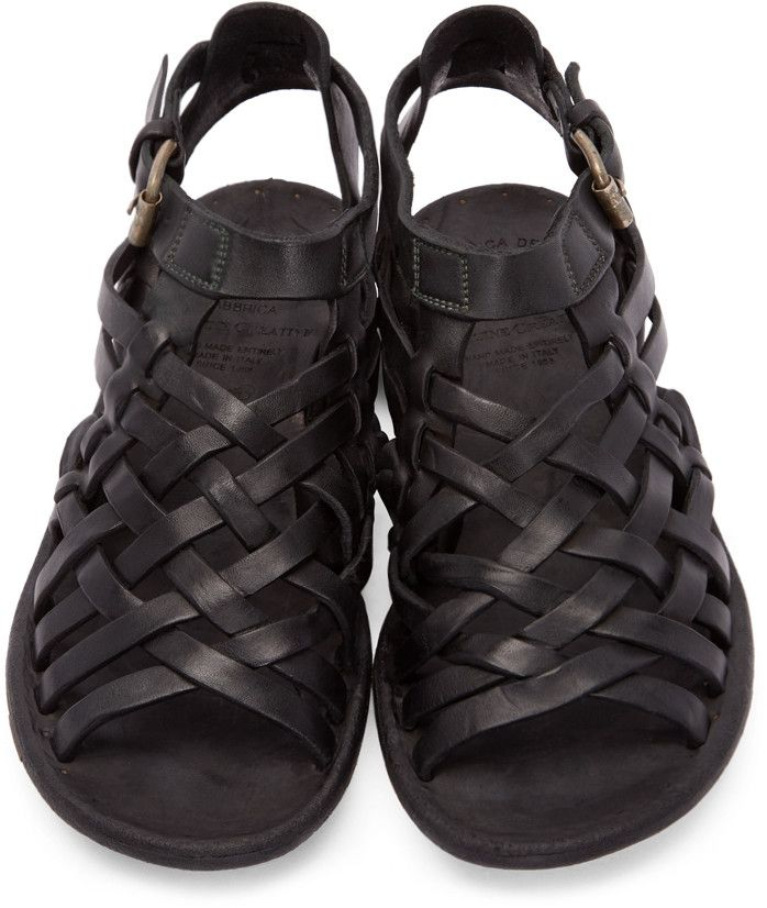Officine Creative - Black Leather Woven Strap Sandals