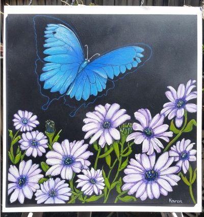 """Chalkart Blackboard creation that I did for a friend.  A friends daughter passed away, she loved Blue Butterflies and African Daisies were her favourite flower.  This is """"Tabitha"""" a Soul drawing. Contact me via Email: lilykchalkart@gmail.com or check out my Facebook Page: https://www.facebook.com/Lily-K-Chalk-Art-1538969433019957"""