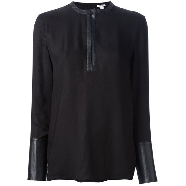 HELMUT LANG sheer blouse (€230) found on Polyvore featuring women's fashion, tops, blouses, see through blouse, sheer long sleeve blouse, long sleeve tops, long sleeve blouse and sheer blouse