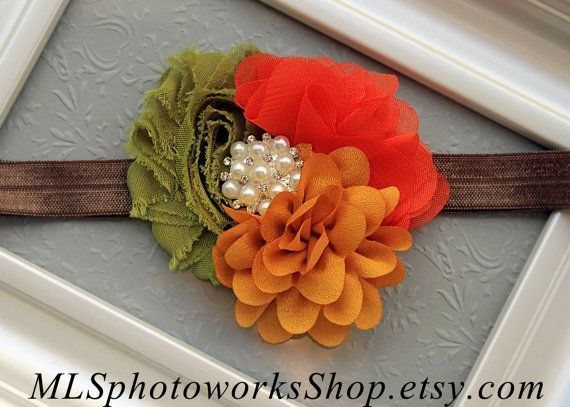 The 70's Chic Color Palette Flower Headband - Baby Girl Flower Hair Bow in Vintage Avocado Green, Mustard Yellow & Burnt Orange