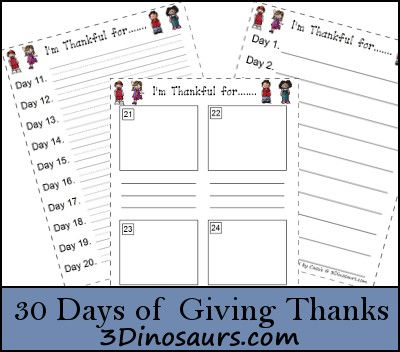 30 Days of Giving Thanks printables
