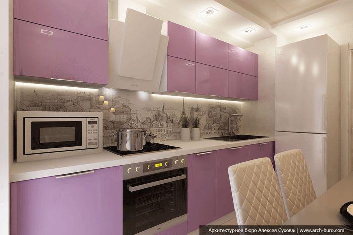 Современная кухня розового цвета. Встроенная плита и духовка. Фартук из фотообоев