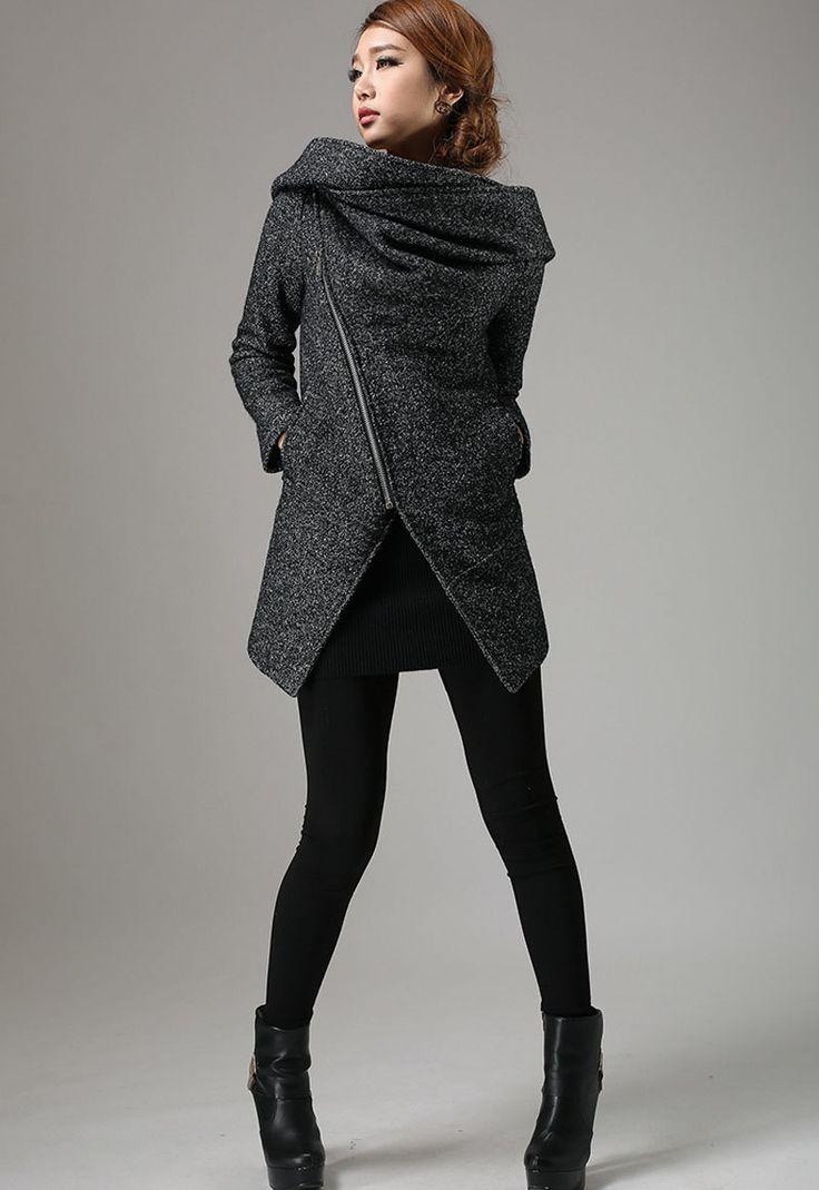 Short Winter Biker Jacket - Charcoal Black Modern Edgy Streetwear Hooded Coat with Large Cowl Neck and Asymmetrical Zipper (735) (159.20 USD) by xiaolizi