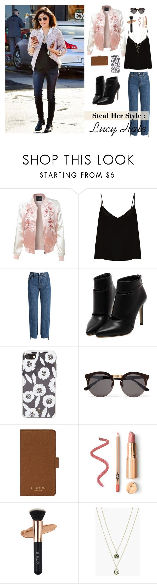 """""""Steal Her Style: Lucy Hale"""" by meetyesintacin on Polyvore featuring LE3NO, Raey, Vetements, Kate Spade, Illesteva, Oroton and Boohoo"""