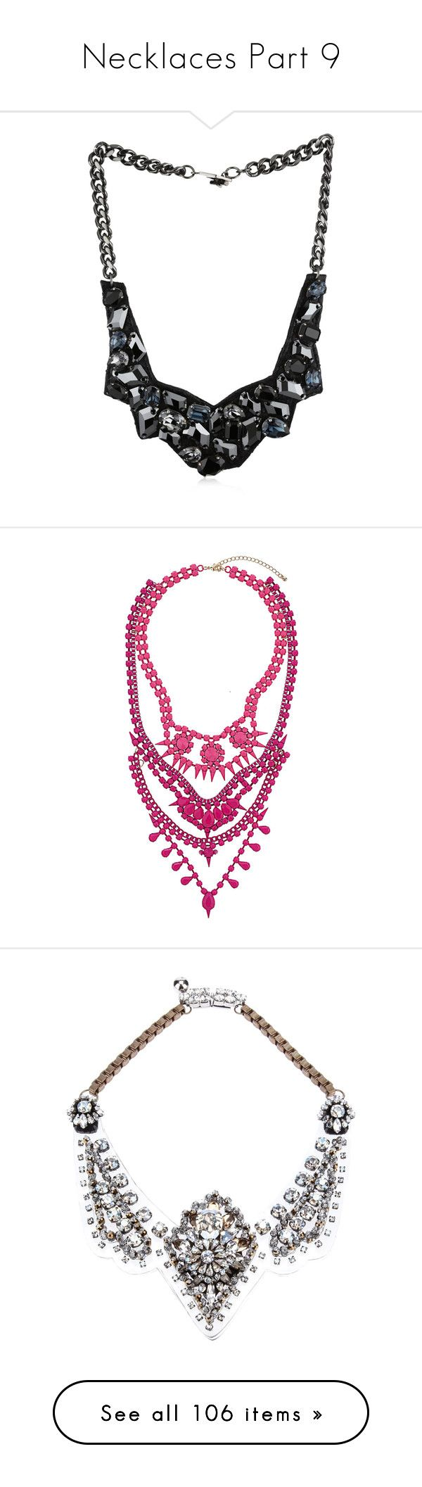 """Necklaces Part 9"" by allison-epps ❤ liked on Polyvore featuring jewelry, necklaces, long bib necklace, bib necklaces, ted rossi jewelry, chain bib necklace, geometric necklace, pink, bib statement necklace and beading necklaces"