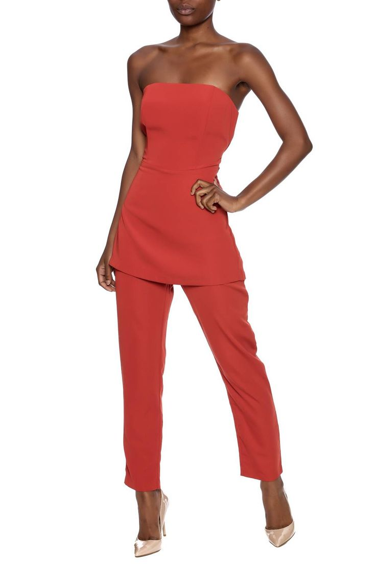 Strapless jumpsuit with a sweetheart neckline, peplum waist overlay, back zipper closure, slim fit pant legs, back zipper closure and back waist tie sash.   Peplum Pants Jumpsuit by Do & Be. Clothing - Jumpsuits & Rompers - Jumpsuits Maryland