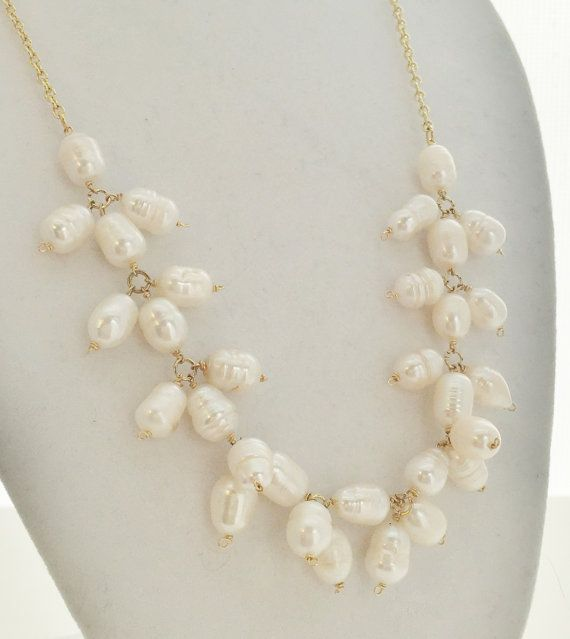 Pearl Statement Necklace, Pearl Necklace