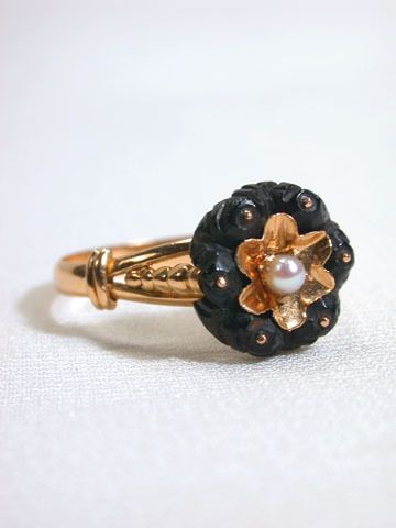 Antique Victorian Bog Oak & Pearl Ring