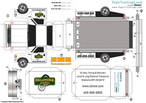 A paper model of theFord F550 rollback for Oklahoma Towing and Recovery (papertrucklogo-bouwplaat-papercraft-ford-f550-rollback)