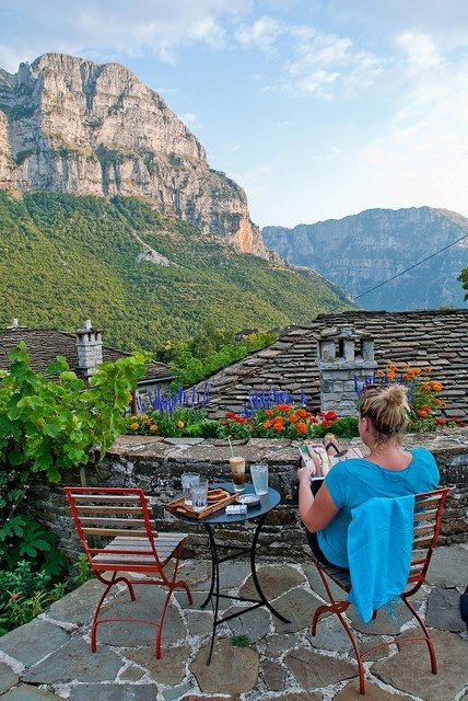 picture ghat follows from tumblr with twinkling water....Im full of sadness because I wont b there tom. Picture is unbelievable!! Morning coffee with a view over the Vikos ravine at the region of Zagorohoria  Φωto by vegaslyra on tBoH
