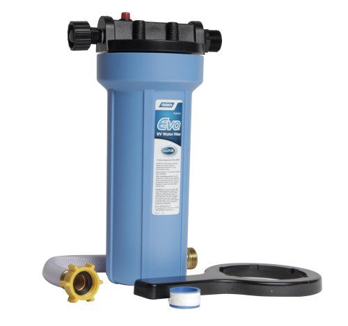 Camco 40631 EVO Premium Water Filter. RV Packing Tip: Water is HEAVY, avoid transporting it as much as possible! Basic RV tools we like: Water Filters allow you to filter out contaminants and reduce bad taste, odors, sediments, bacteria, chlorine and more.