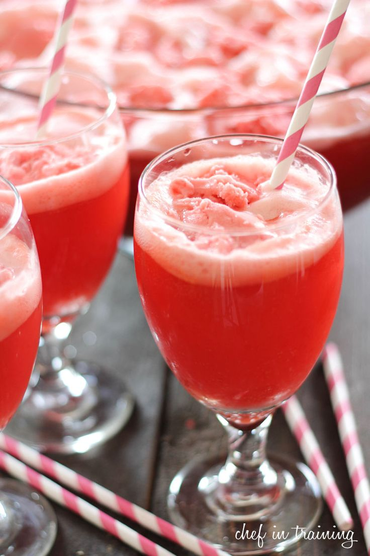 Party Punch  Skill Level: Easy Only 3 ingredients! It is simple, delicious and a crowd pleaser!  INGREDIENTS 1 gallon Fruit Punch 2 liters 7-Up 1/2 gallon raspberry sherbet INSTRUCTIONS  In a large punch bowl, pour the fruit punch and 7-up. Using and ice cream scoop, scoop out balls of raspberry sherbet and place into punch bowl until none remains. Enjoy!