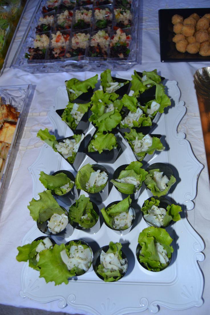 Cena a buffet per compleanno Massimo, collega di mio marito - Insalata con seppia marinata