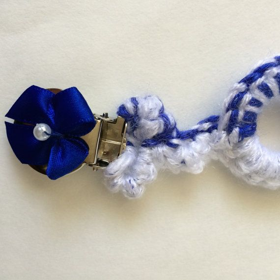 Crocheted pacifier clip in white and blue-pacifier holder-made by hand for baby-clip for pacifier-binky clip