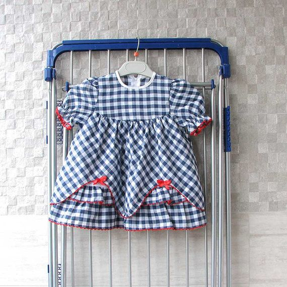 Vintage Plaid Girls  Dress White Navy Blue Baby by DamovFashion