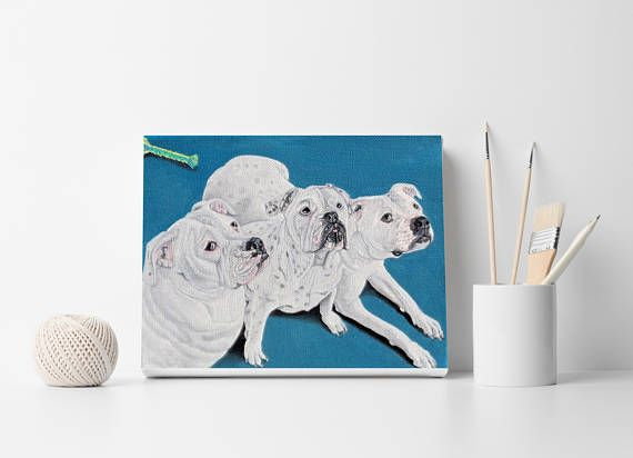 Custom dog portrait Pet portrait 3 dogs painting 3 cats
