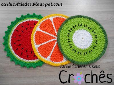 Carine Strieder e seus Crochês: Descanso de panela: Melancia, Laranja e Kiwi