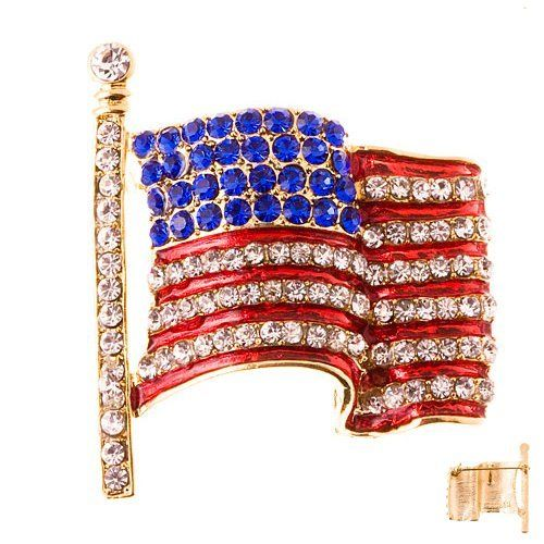 """Patriotic Jewelry American Flag Crystal Rhinestone 3D Brooch Pin Gold Accessoriesforever. $21.00. Style: American Flag, 3D. Material: Clear & Blue Crystal Rhinestones; Red Enamel Coated; Metal Casting, Gold Plated. Nickel / Lead Free. Dimensions (Size): Approx. 1.85"""" L x 1.65"""" W. Color: Gold"""