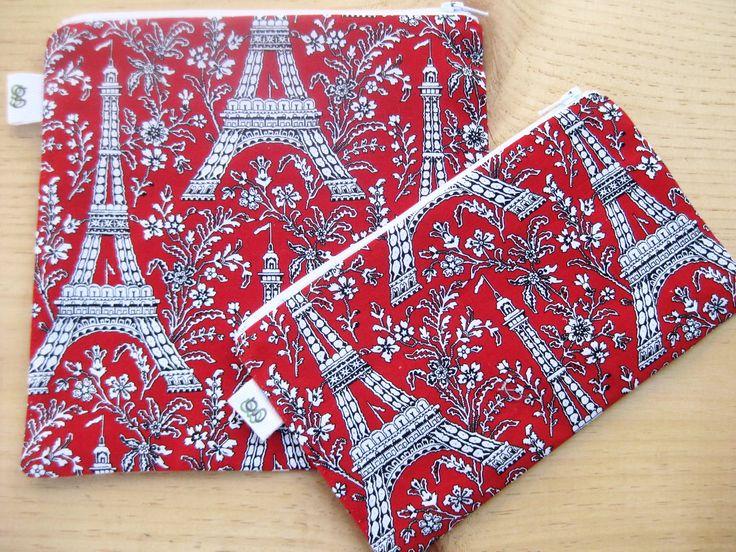Reusable Zipper Sandwich & Snack Bags BPA Free Eco Friendly Set of 2 Paris Eiffel Tower print