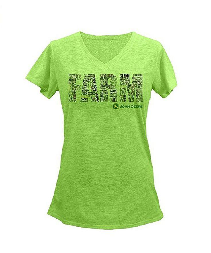 "Ladies John Deere ""FARM"" T-Shirt (Lime Green)"