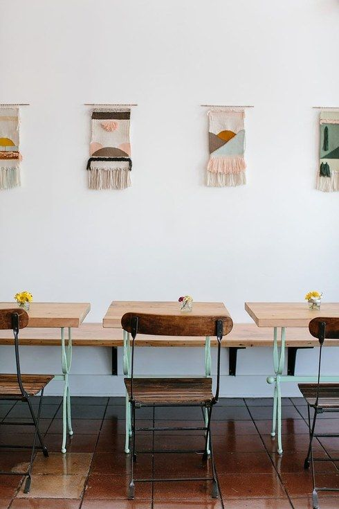 The woven art wall hangings at Kitchen Mouse in Los Angeles. | 31 Coffeeshops And Cafés You Wish You Lived In