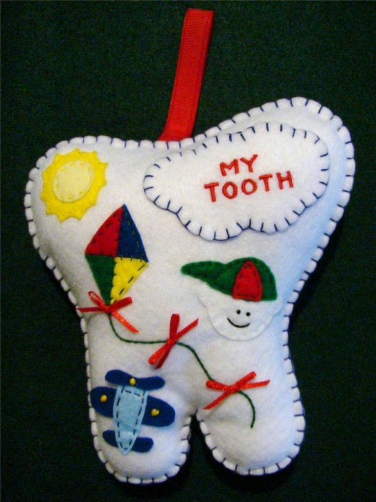 BOYS HAND~MADE BLUE FELT TOOTH FAIRY PILLOW W/AIRPLANE, KITE & SUN ~ FROM THE CHRISTMAS WINDOW
