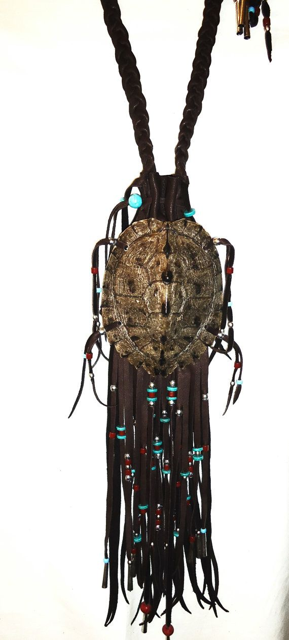 Map turtle shell medicine bag pouch mountain man by LeatherBagLady