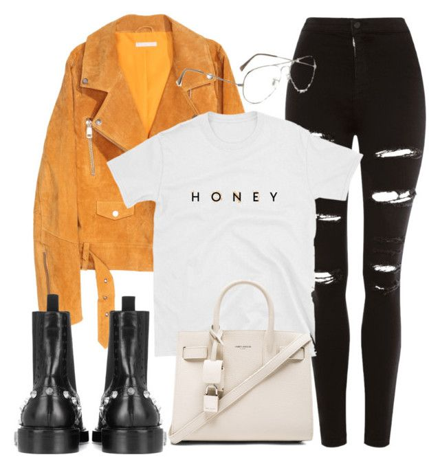 """""""Untitled #3993"""" by camilae97 ❤ liked on Polyvore featuring SKINN, Topshop, Yves Saint Laurent, Balenciaga and Ray-Ban"""