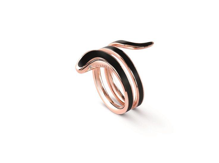 """Коллекция """"Eden"""". Кольцо из розового золота и керамикой"""