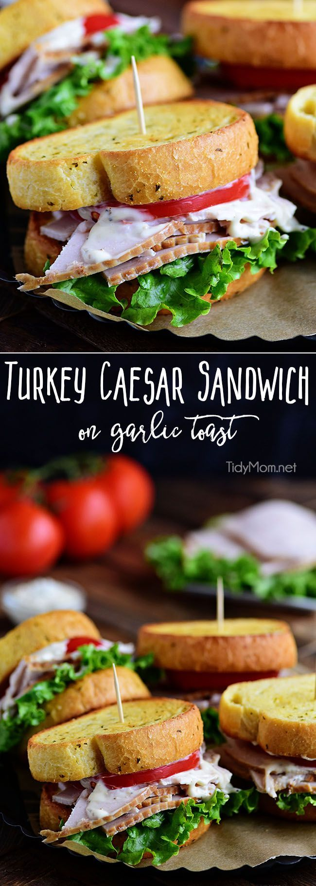 Texas garlic toast turns an ordinary Turkey Caesar Sandwich into something special. It's the perfect way to use up leftover Thanksgiving turkey or enjoy any day with deli sliced turkey! Print recipe at TidyMom.net via