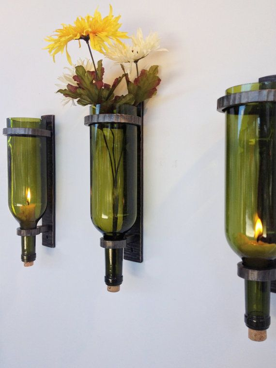 The Phoenix Handcraft Wine Bottle Sconces are great with candles or flowers, or both!