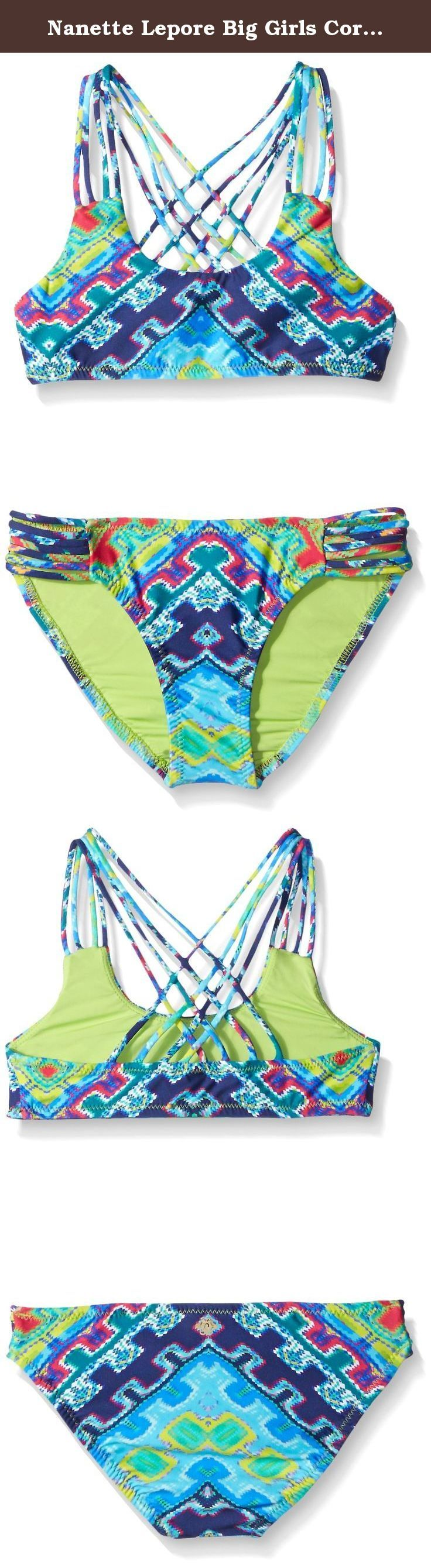Nanette Lepore Big Girls Coral Reef Bralette Back Detail Wit Strappy Hipster, Multi, 7. Tween sized teenager sets teen swim swimsuits swimming pool beach favorite suit girl girls top and bottom ropa traje de bano swimsuit number 1 best fav de la mar.