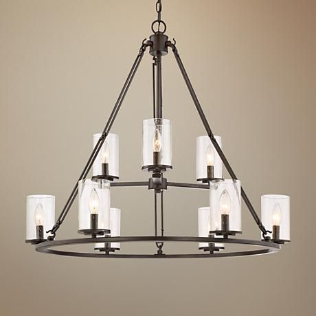 Quoizel Buchanan 33W Western Bronze 9 Light Chandelier Living Room