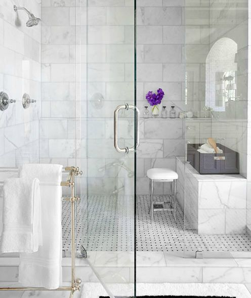 "Going to do a marble ""freestanding"" seat like this in the master shower. It will not be attached to the side walls - just the back wall."