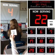 "I'm a big fan of one-on-one conferencing with students as a way to connect with them and check for understanding. I use this ""deli-style"" format with students as a fun way to let them know it is their turn to conference with me. Each student is given a ticket (from 1 to how ever many students you have in class) at the beginning of class and meets me at the designated conference area in the room when they hear the ""DING!"" and their number appears on the projector screen. Kids love it!"