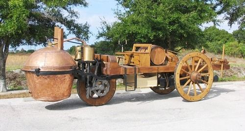 A replica of Nicolas Joseph Cugnots steam-powered car, circa 1770 - Capharnaum Steampunk