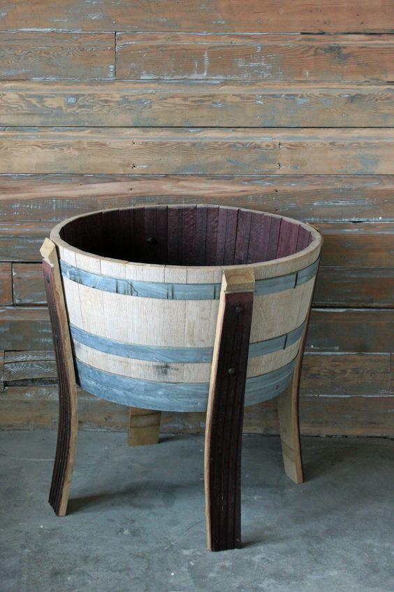 Raised Wine Barrel Planter with staves