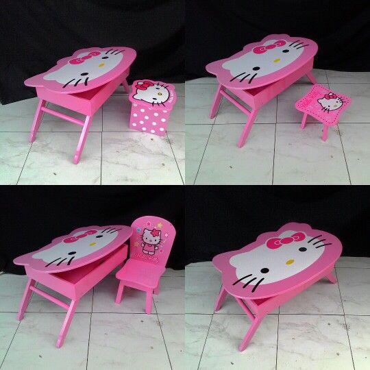 Meja lipat anak hellokitty  Desain terbaru dengan box penyimpanan