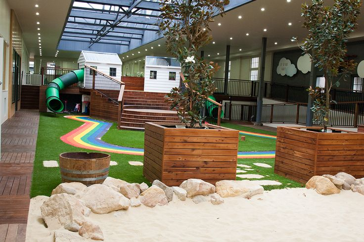 Indoor/Outdoor Playground at Greenwood Concord - children can't wait to try the jumping pillow, rainbow bike track and cubby houses complete with tunnel slides! www.greenwood.com.au