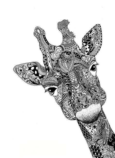 Art i zentangle giraffe illustration caught my eye because of all the small details that make up this amazing animal drawing