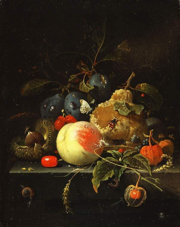 Abraham Mignon, Still life: fruit and nuts on a stone ledge, 17th century (source).