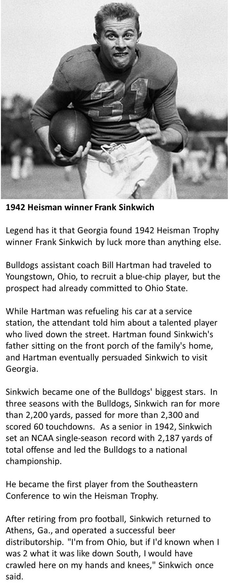 Frank Sinkwich - 1942 Heisman Memorial Trophy Winner - University of Georgia Bulldogs
