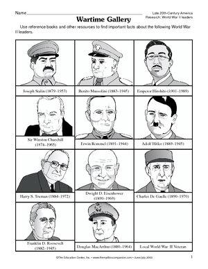 Worksheet: World War II