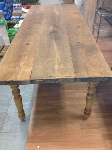 Farm Table 8 Foot 2 inch thick Wide Board Waxed Plank Pine FarmTable with saw marks, pure tung oil finish