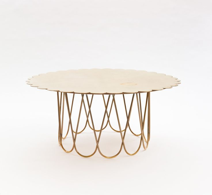 Alexander Girard; Brass Low Table for Miller House, 1950's.