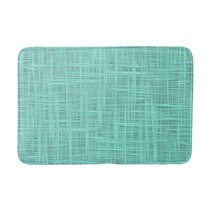 Aqua Turquoise Green Blue Faux Jute Fabric Pattern Bathroom Mat - rustic gifts ideas customize personalize