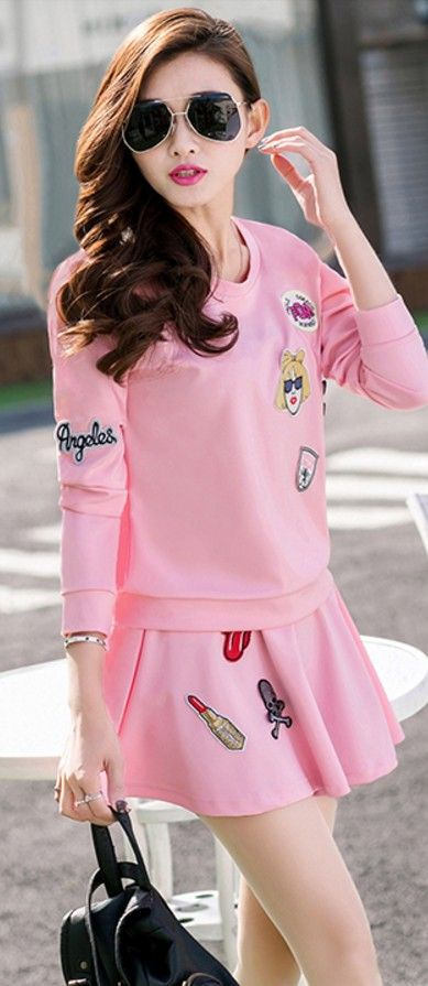 Cartoon Sweater And Skirt Set