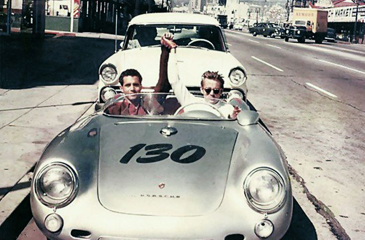 james dean and his mechanic rolf weutherich posing inside the iconic 1955 porsche 550 spyder nicknamed the little bastard shortly before the s