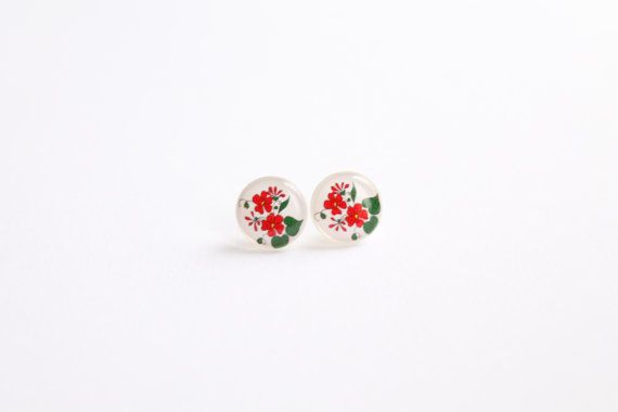 12,5 mm small studs, flower studs, red flower stud earrings, white and red earrings, multicolor earrings, unique jewelry on Etsy, $17.64