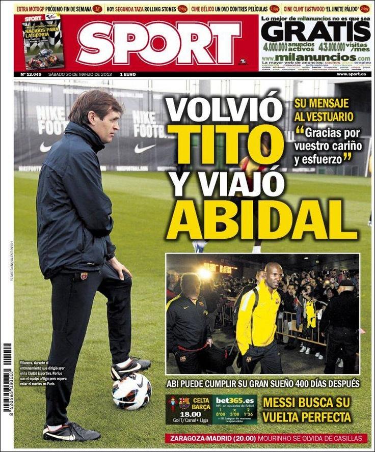 Los Titulares y Portadas de Noticias Destacadas Españolas del 30 de Marzo de 2013 del Diario Deportivo SPORT ¿Que le parecio esta Portada de este Diario Español?